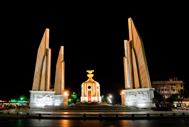 Democracy Monument at Night. Bangkok, Thailand.